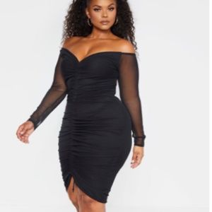 PRETTY LITTLE THING MESH RUCHED BARDOT MIDI